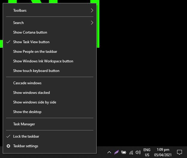 right click on taskbar